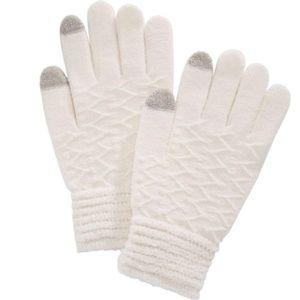 Steve Madden Touchscreen Gloves Metallic Ivory NWT